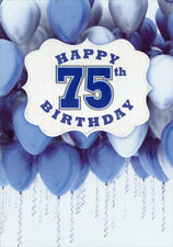 White Banner Over Blue And Balloons Age 75 75th Birthday Card For Him