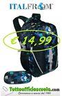 ITALFROM pack ZAINO Nero Grigio Blu compreso di portapenne pancil bags