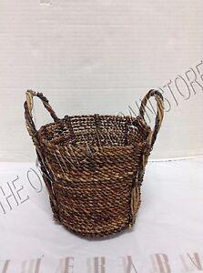 1 Pottery Barn Perry Dark Seagrass Handwoven Storage Organization Basket SMALL