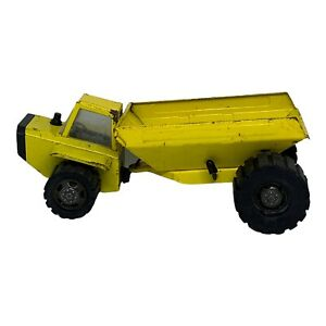 Vintage Metal Dump Truck - Yellow Construction Vehicle  - Made in Japan