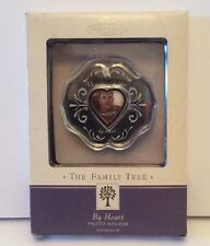 Hallmark Family Tree Photo Frame Holder Ornament By Heart Glass Metal Silver New