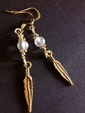 Golden Feather Charm Dangle Earrings With Clear Crystal Quartz Bead