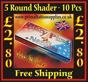 Sexy Pins Tattoo Needles 5 Round Shader  Box of 10  -  (Tattoo Supplies - Grips)