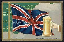 c.1905 Anglo-Japanese Alliance Union Jack Asahi Beer Advertising Postcard B103