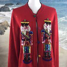MICHAEL SIMON Red Christmas Nutcracker Sequined Sweater ~ Womens Sz Large EUC