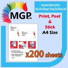 200 eBay Integrated A4 Post Printing Address Labels & Invoice Slip-Self Adhesive