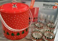 Vintage Libbey Winterland Red Ice Bucket Libbey 5 Piece Set 4 Glass Tumblers