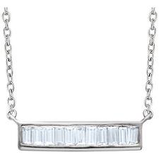 Diamante Baguette Barra 40,6 -45 , 7cm Collar en 14k ORO BLANCO ( 1/4 Ct. TW