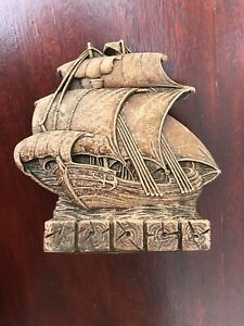 Vintage Clipper Sailing Galleon Cutter Ship Bookend Wood Look Nautical Sea