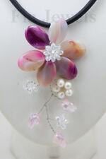 COLLANA Glamour Fiore Agata Porpora Perle Naturali NECKLACE natural agate pearls