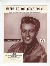 EIVIS PRESLEY Sheet Music 1962 Where Do You Come From