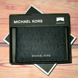 MENS MICHAEL KORS JET SET BLACK SLIM BIFOLD LEATHER WALLET WITH ORIGINAL BOX