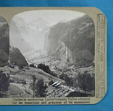 Swiss Stereoview Photo Chalets In Lauterbrunnen Valley Waterfalls Realistic