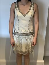 TED BAKER Cream Beaded Flapper Dress 1920's Gatsby Deco Party Ted Size 2 UK 10