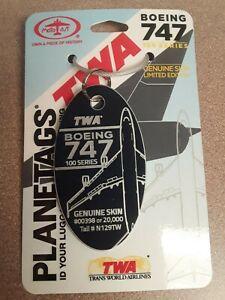 TWA Trans World Airlines Boeing 747-100 Tail #N129TW Planetags / Plane Tag