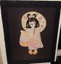 JAPANESE GIRL EMBROIDERY TAPESTRY PAINTING