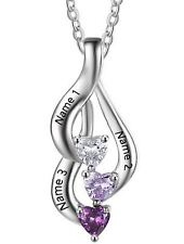 Personalized Sterling Silver Heart Drop 3 Birthstone 3 Engraved Names Necklace