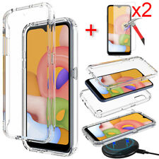For Samsung Galaxy A01 Case Clear Crystal PC Phone Cover Glass Screen Protector