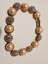 Vintage Monet Faux Pearl And Diamante Bracelet