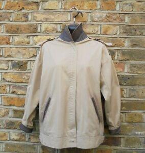 Burberry London Women's Beige Leather Trim Bomber Harrington Jacket Size UK 16