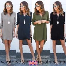 New Fashion Women Ladies Short Dress Tops Long Sleeve Chiffon Blouse Shirt Loose