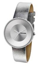 Ladies LAMBRETTA 'Cielo' Metallic Silver Leather Watch rrp £58 - New
