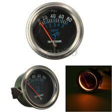 2'' 52mm Mechanical Fuel Oil Pressure Gauge Meter Car Black Face 0~80 PSI 12V US
