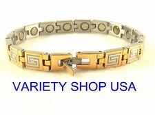 "Stainless Steel Magnetic Gold & Silver Greek Key 7.75"" Bracelet SS5598 18k plate"