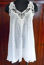 $234 JOHNNY WAS EMBROIDERED LACY CAMI TANK EYELET FLARED TUNIC TOP LACE SZ M