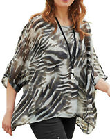 UK Sizes 16-38 EU 42-64 Ladies Lined Animal Print Kimono Tunic Top