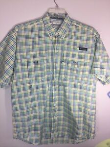 NEW COLUMBIA PFG Mens Super Bahama SS Fishing Shirt Green Blue Plaids S  NEW/WOT