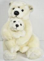 International Bon Ton Toys WWF MAMA POLAR BEAR w/ BABY Stuffed Plush Animal TOY