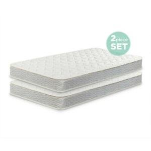 Twin Size Mattress Spring Daybeds Bunk Trundle Bed 2 Pack Children Bed Room Set
