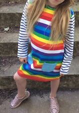 Girls Kids Childs Rainbow Striped Long Sleeve Dress 100% Cotton 1 2 3 4 5 6 7 8