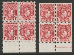 Nigeria 1938 George VI 1d Shades Carmine & Rose-red in blocks SG 50-50a Mnh.