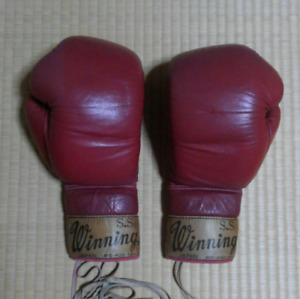 WINNING Boxing Gloves 40 Years Old 12oz Red Color Vintage Used