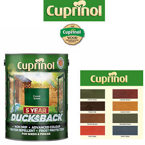 Cuprinol 5 Year Ducksback Garden Shed & Fence Paint 5L All Colours