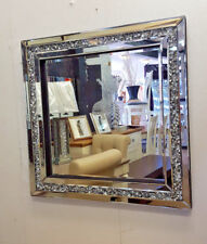 Gatsby Crushed Diamond Crystal Glass Silver Frame Bevelled Wall Mirror 60x60cm