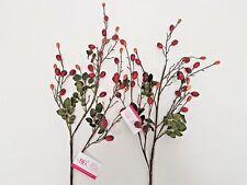 Set of 2 Artificial Rose Hip Spray - 90cm - Winter Autumn Decoration