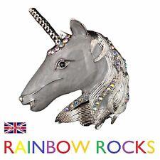 Large Austrian Crystal Unicorn Horse Head Brooch Pin Wedding Fantasy Bridal Grey