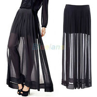 EG_ Womens See Through Dress Sheer Side Split Pleated Chiffon Maxi Long Skirt Bl