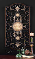 DISTRESSED BRONZE HAND FORGED AND EMBOSSED METAL DECORATIVE WALL ART SCULPTURE