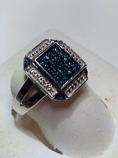 .30cttw Real Blue Diamond Retangal Modern Sterling Silver Fashion Ring #736A