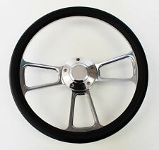 """Black and Billet Steering Wheel Fits Ididit and Flaming River Column 14"""""""