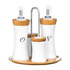Premier Bamboo & Ceramic Condiment Set Oil/Vinegar Jars & Salt/Pepper Shakers