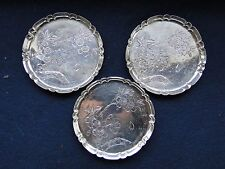 Japanese Sterling Silver Set Of 3 Engraved Dishes, Marked On The Base 1890