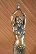 """COLLECTIBLE BRONZE SCULPTURE STATUE Art Nouveau 17"""" TALL CHIPARUS DANCER LOSTWAX"""