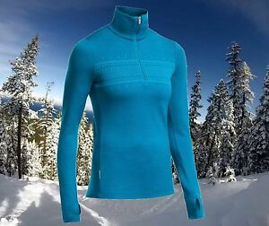 Icebreaker Womens XS Thermal Merino Wool 1/2 Zip Tech Sports Ski Top Nwt $120