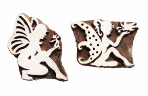 2 HOLZSTEMPEL Feen Elfen Textilstempel Seifenstempel Flügel Engel Zauberwesen