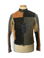 NWT $1210 ARMANI JEANS Motorcycle Leather Jacket Multicolor Size XS